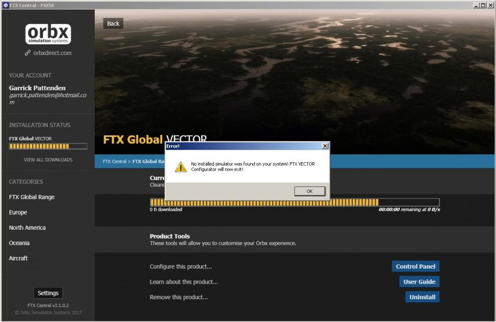 FTX Global Vector No Installed Simulator Error.jpg