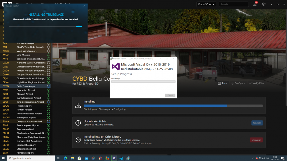 Nitification during install Trueglass with Visual C++ screen very shortly shown.png